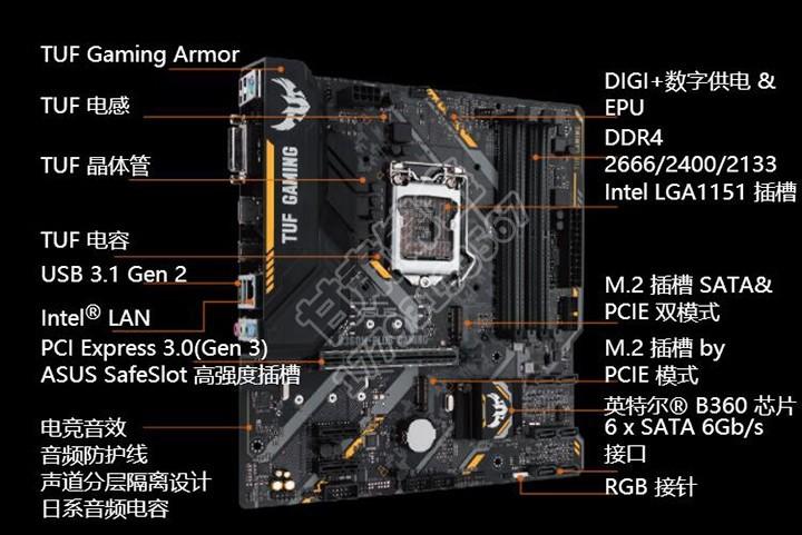华硕tuf b360m-plus gaming电竞主板 特价促销 699超优惠