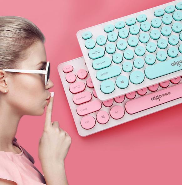 Aigo 爱国者 朋克风格超薄有线键盘