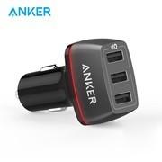 Anker安克车载充电器 36W三口手机充电器苹果三星手机平板通用