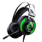 录音师(LUYS) 7.1声道头戴式电竞游戏耳机 USB7.1声卡 LED发光 927黑绿色 绝地逃生吃鸡耳机