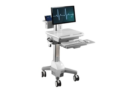 TOPSKYS CNH02医疗巡房移动推车单屏电脑一体机显示器支架医用工作台护理车