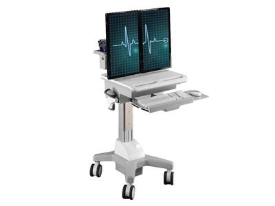 TOPSKYS CND02医用移动推车二屏显示器支架医用工作台巡房护理车
