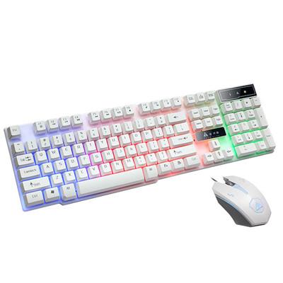 金河田KM015键盘鼠标套装 电脑台式USB有线发光游戏键鼠 机械手感