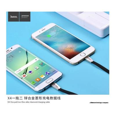 浩酷X4一拖二苹果5se/6splus安卓micro锌合金菱形充电数据线